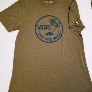 Vans Off The Wall Olive Green T Shirt Sz M